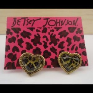 Betsey Johnson heart leopard pierced earrings